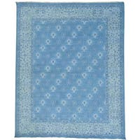 "Sky Blue Turkish Knot Oushak Cropped Thin Handmade Rug (7'10 x 9'9) - 7'10"" x 9'9"""