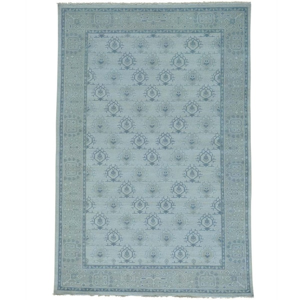 "Hand-knotted Turkish Knot Oushak Cropped Thin Oriental Rug (6' x 8'10) - 6'0"" x 8'10"""