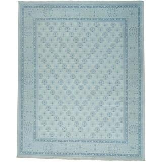 Oversize Turkish Knot Oushak Cropped Thin Handmade Rug (11'10 x 14'10)