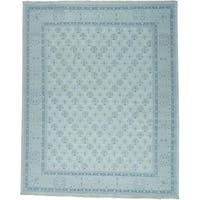 """Oversize Turkish Knot Oushak Cropped Thin Handmade Rug (11'10 x 14'10) - 11'10"""" x 14'10"""""""
