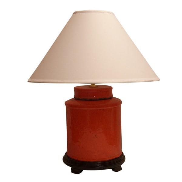 Crown Lighting Distressed Jar Burnt Orange Ceramic 1-light Table Lamp