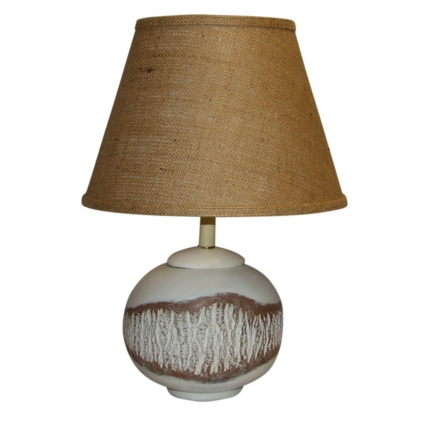 Crown Lighting White Cottonwood with Exposed Knot Painted Ceramic 1-light Table Lamp