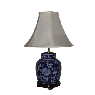 Crown Lighting Cobalt Blue with White Flowers 1-light Table Lamp
