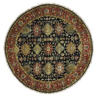 Black Karajeh Pure Wool Hand-knotted Oriental Rug (8' Round)