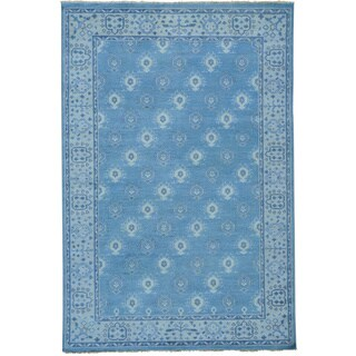 Cropped Thin Turkish Knot Oushak Hand-knotted Oriental Rug (6' x 9')