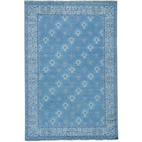 """Cropped Thin Turkish Knot Oushak Hand-knotted Oriental Rug (6' x 9') - 6'0"""" x 9'0"""""""