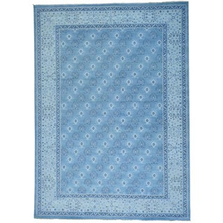 Turkish Knot Oushak Cropped Thin Hand-knotted Rug (10' x 13'9)