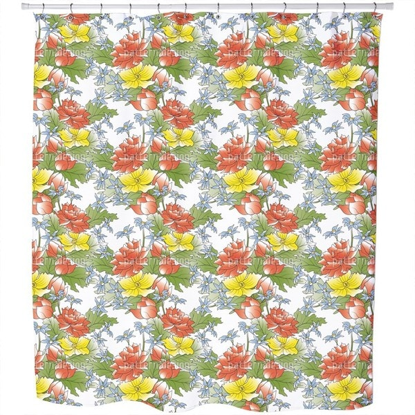 Asian Flower Bouquet Shower Curtain