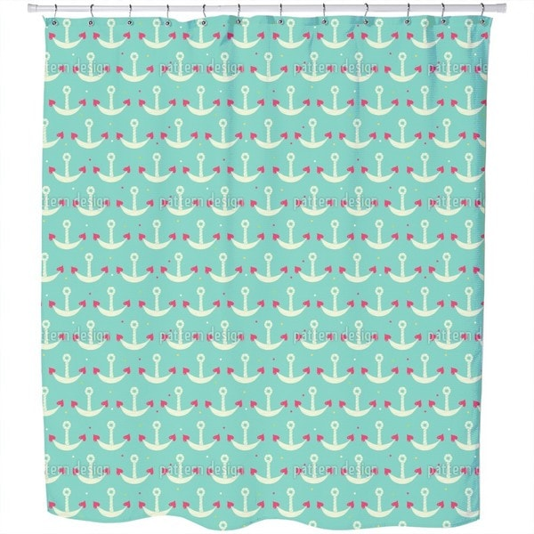 Anchor with Heart Shower Curtain