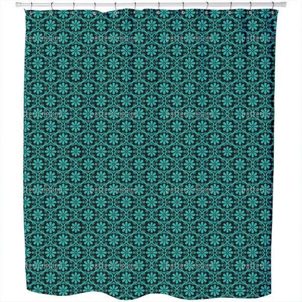 All Over Turquoise Flowers Shower Curtain