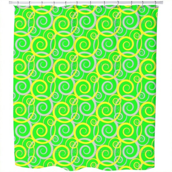 Curly Green Shower Curtain