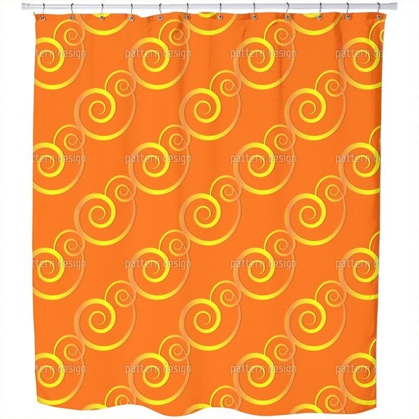 Curly Gold Shower Curtain