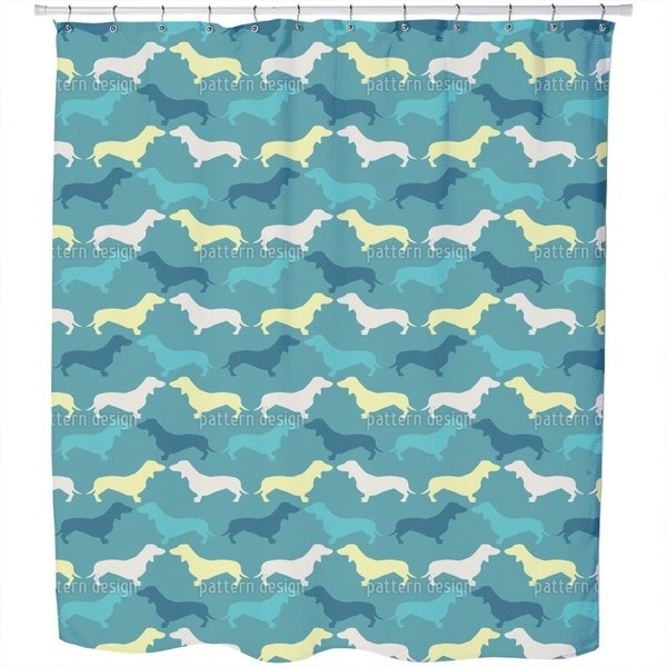 Dachshund Petrol Shower Curtain