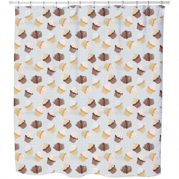 Cupcakes Grey Shower Curtain