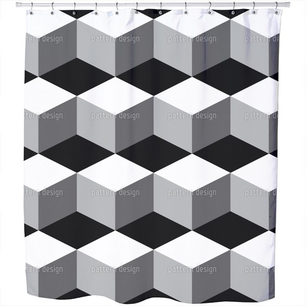 Cube On Black Shower Curtain