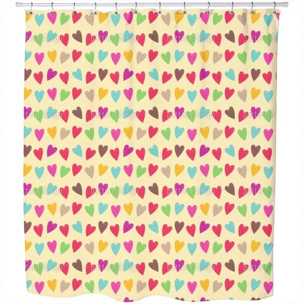 Crocheted Hearts Shower Curtain