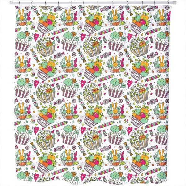 Colorful Cup Cake World Shower Curtain