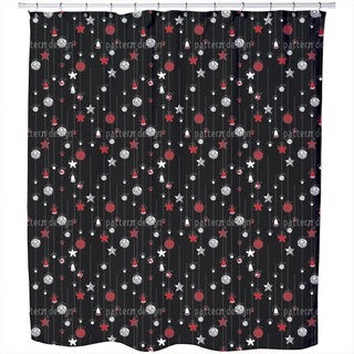 Christmas Tree Balls Black Shower Curtain