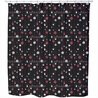 Christmas Tree Balls Black Shower Curtain