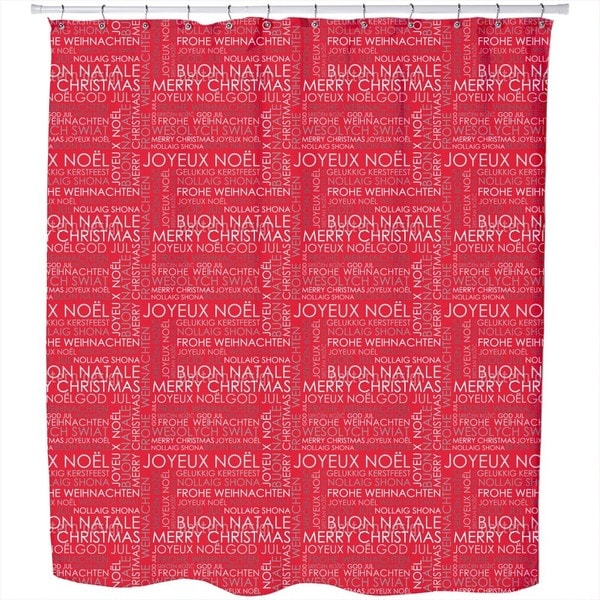 Christmas Greetings Red Shower Curtain