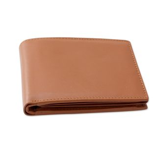 Handcrafted Men's Leather 'Refined Tan' Wallet (India)
