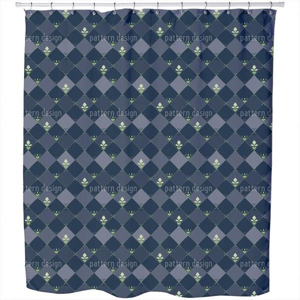 Checkerboard Flowers Shower Curtain