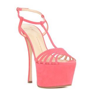 Giuseppe Zanotti Pink Suede T-strap Platform Heel Sandals