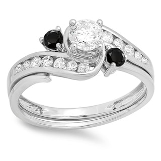 Elora 10k White Gold 7/8ct TDW Black and White Diamond Swirl Bridal Engagement Ring Set (H-I, I1-I2)