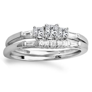 Elora 10k White Gold 2/5ct TDW Diamond Bridal Engagement Ring Set (H-I, I1-I2)