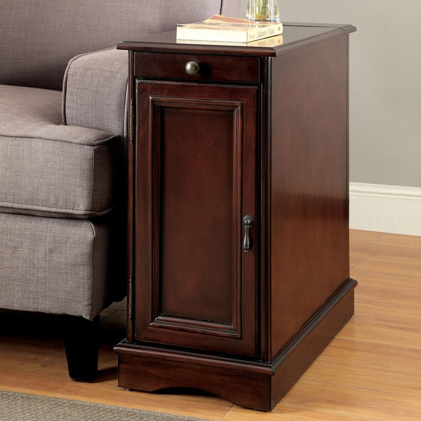 Furniture of America Terra Multi-storage Side Table with Power Strip