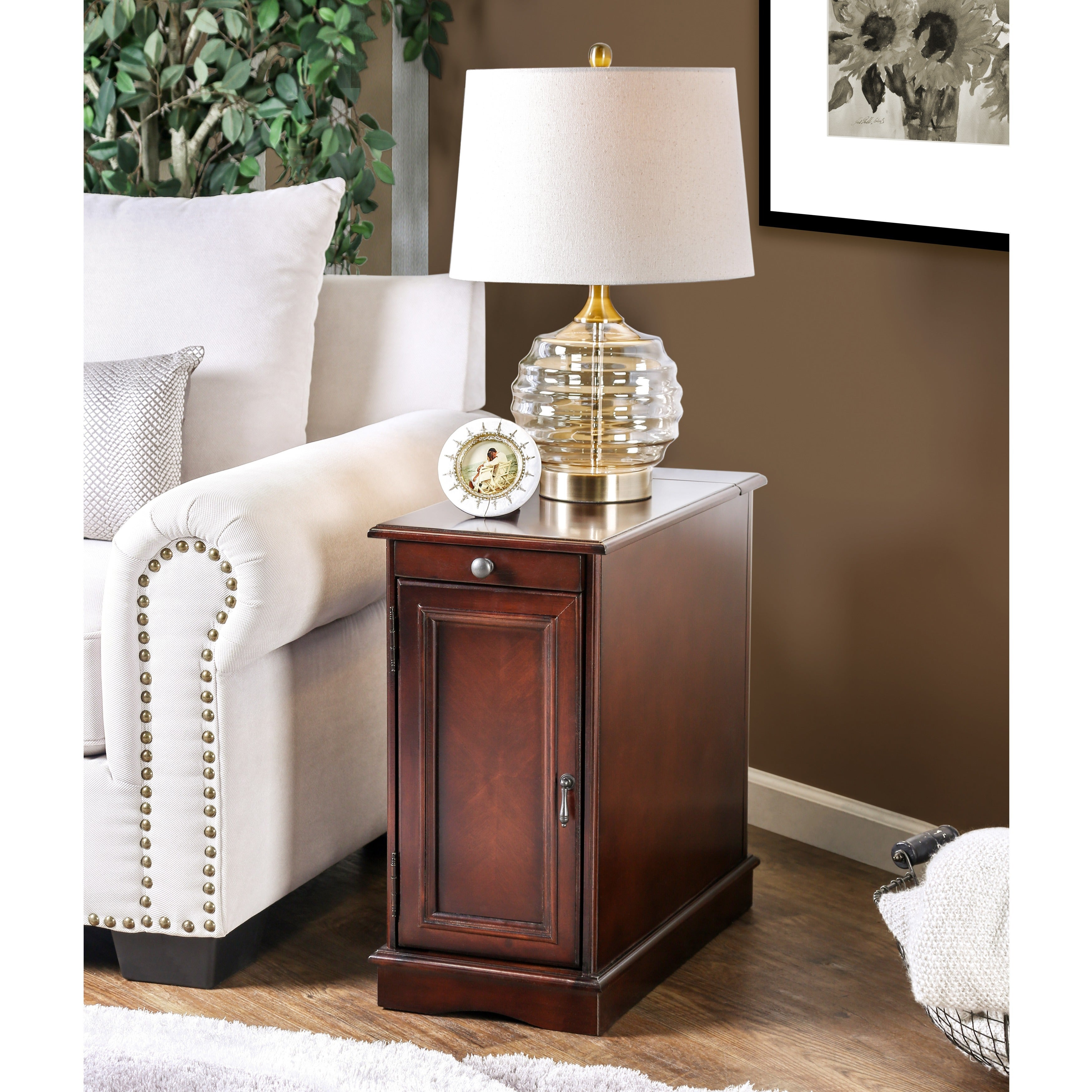 Gracewood Hollow Flanagan Multi Storage Side Table With Power Strip