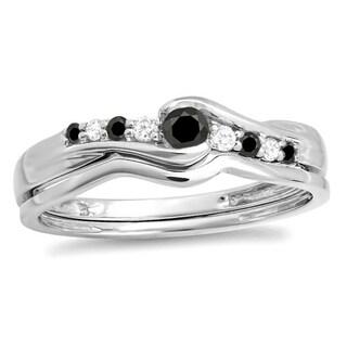 Elora 10k White Gold 1/4ct TDW Black and White Diamond Wedding Ring Set