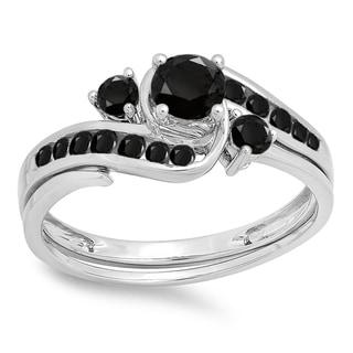 10k White Gold 7/8ct TDW Black Diamond Swirl Bridal Set
