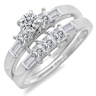 Elora 14k White Gold 1 1/2ct TDW Tri-cut Diamond Bridal Set (H-I, I1-I2)
