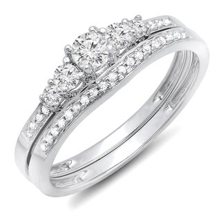 Elora 10k Gold 1/2ct TDW Diamond 5-stone Bridal Engagement Ring (H-I, I1-I2)