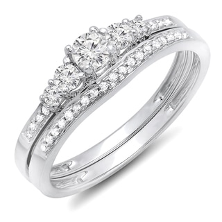 Elora 10k Gold 1/2ct TDW Diamond 5-stone Engagement Ring Bridal Set (H-I, I1-I2)