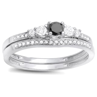 Elora 14k White Gold 1/2ct TDW Black and White Diamond 5-stone Bridal Ring Set (H-I, I1-I2)