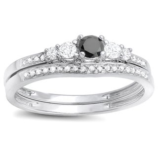 14k White Gold 1/2ct TDW Black and White Diamond 5-stone Bridal Ring Set (H-I, I1-I2)