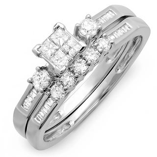 Elora 10k White Gold 5/8ct TDW Diamond Bridal Ring Set (H-I, I1-I2)