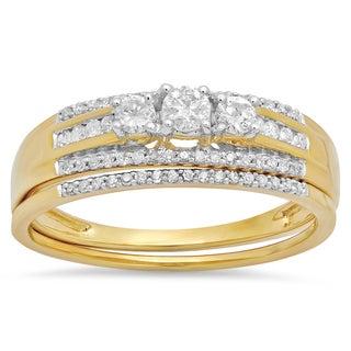 Elora 14k Yellow Gold 2/5ct TDW Diamond 3-stone Bridal Ring Engagement Set (H-I, I1-I2)