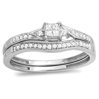 Elora 10k White Gold 1/4ct TDW Diamond Bridal Wedding Ring Set (H-I, I1-I2)