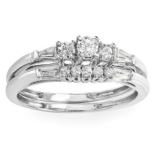 Elora 10k White Gold 2/5ct TDW Baguette Diamond Bridal Engagement Ring Set (H-I, I1-I2)