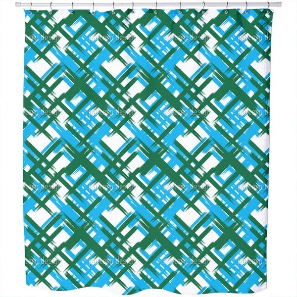 Abstract Tartan Shower Curtain