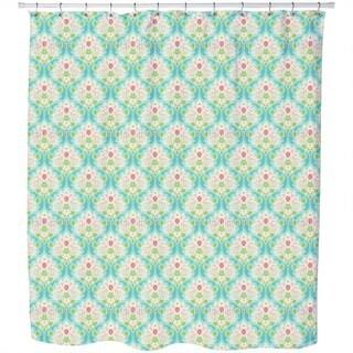 Royale Tan And Aqua Damask Shower Curtain