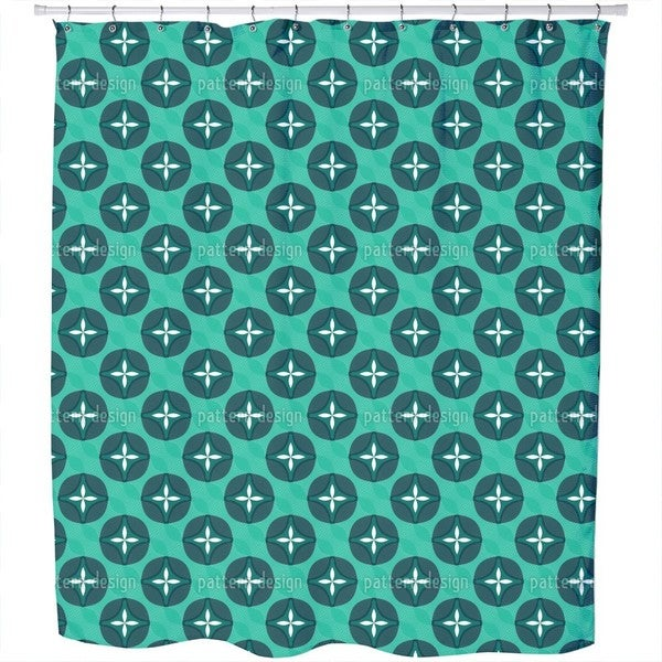Abstract Blossoms with Waves Shower Curtain