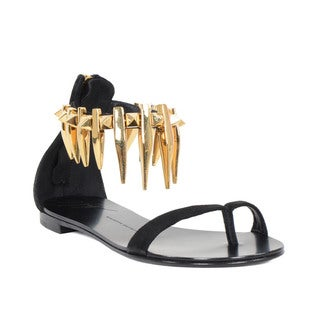 Giuseppe Zanotti Black Suede Flat Sandals with Goldtone Saber Tooth Design