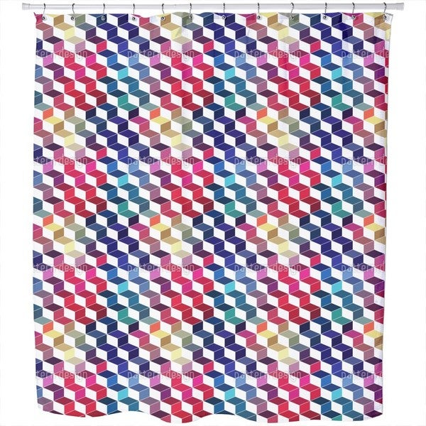 Dimension Of Stacked Squares Shower Curtain