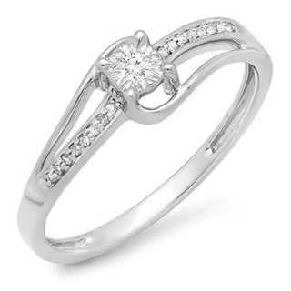 Elora 10k White Gold 1/10ct TDW Diamond Wave Bridal Promise Engagement Ring (I-J, I2-I3)