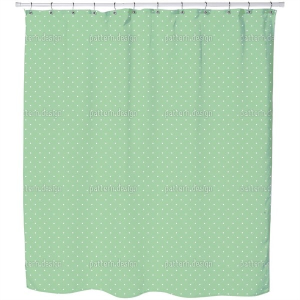 Dots On Green Shower Curtain