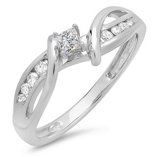 Elora 10k White Gold 1/4ct TDW Diamond Crossover Split Shank Bridal Ring (H-I, I1-I2)